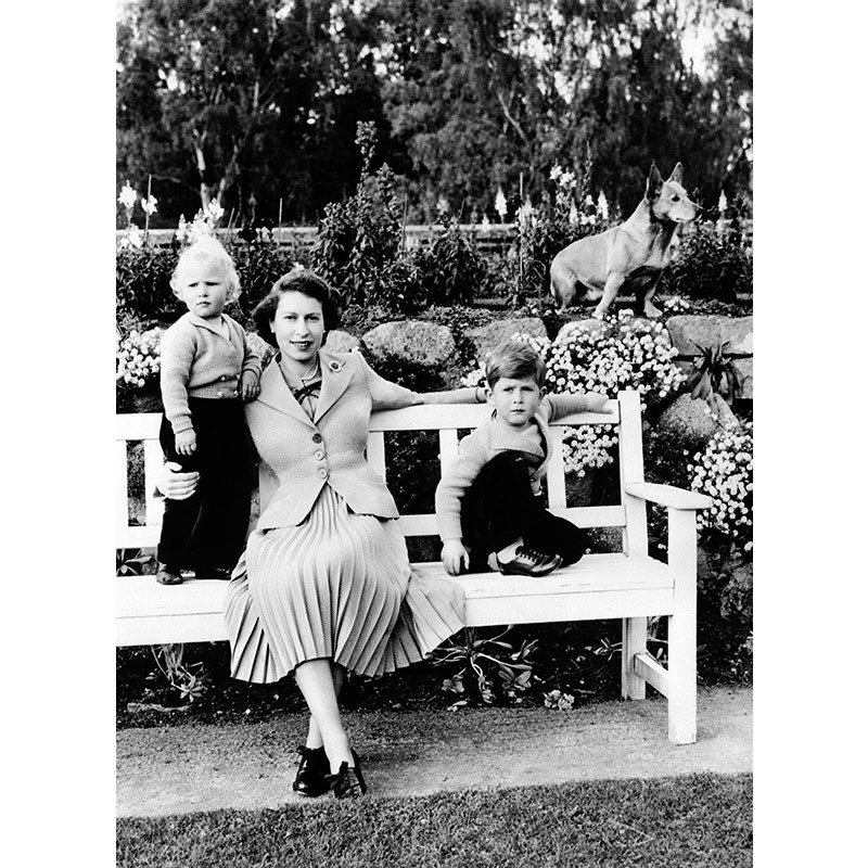 The Queen with Princess Anne, Prince Charles and a pet corgi.