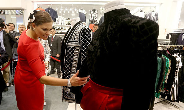 Crown Princess Victoria of Sweden checked out the Balmain capsule collection for retailer H&M in Lima, Peru.