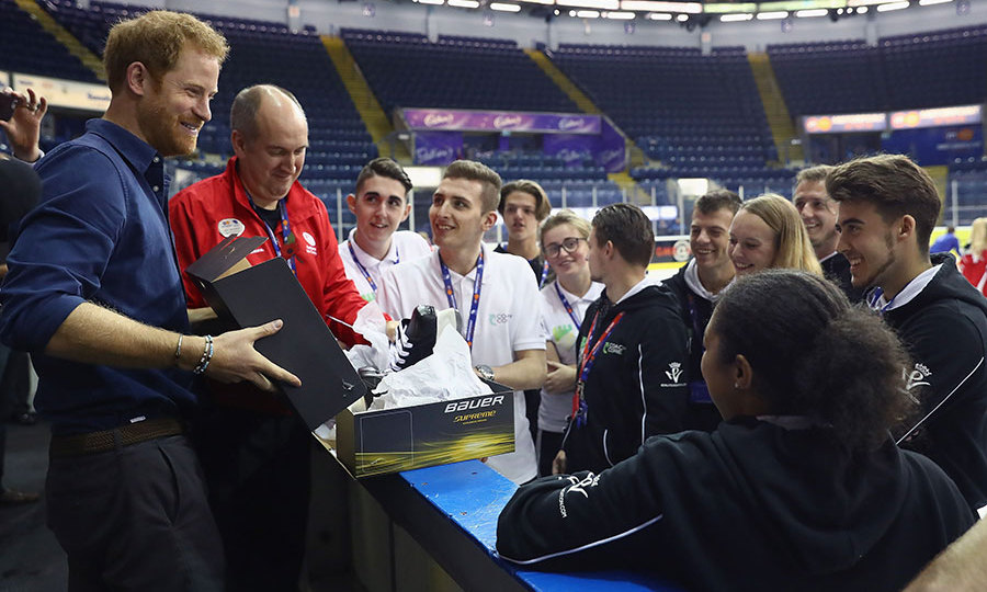 "Prince Harry was handed a pair of skates during his visit to Nottingham on Wednesday. The 32-year-old headed to the National Ice Centre but shied away from trying them out on the ice during a meeting with youth sports coaches. ""Wow, that's amazing,"" he said upon receiving his surprise.
