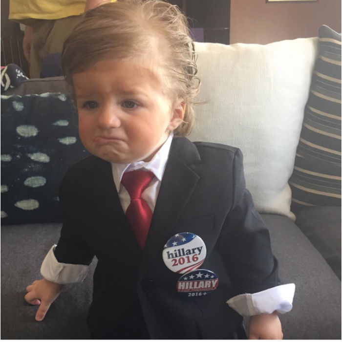 From the side-swept hair to ample bronzer and that signature smirk, Casey Wilson's son did a spot-on Donald Trump!