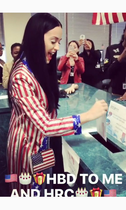 Katy Perry's rocking the vote! The pop star made her choice for president clear, posting a playful video while casting her vote for Hillary Clinton on her 32nd birthday, a day before the Democratic nominee's 69th.