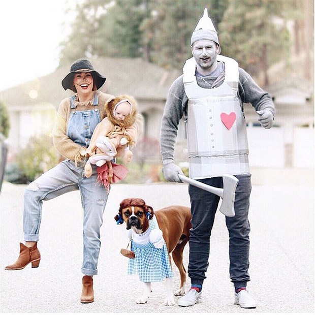 Leo's first Halloween also included playing the role of the lion from <i>The Wizard of Oz</i>. Jillian and her fiancé Justin's pet pooch Nacho made the perfect Dorothy.  