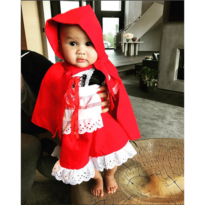 Luna's costume parade continued with Little Red Riding Hood. 