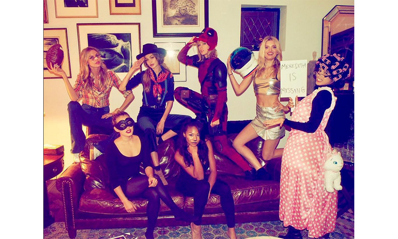 "Taylor Swift and her squad took on a variety of personalities. ""Happy Halloween from Deadpool, a Cub Scout, Martha Brady, a space cadet, a granny with a lost cat, black swan, and a birthday girl dressed as a cat,"" wrote the singer on Instagram. 