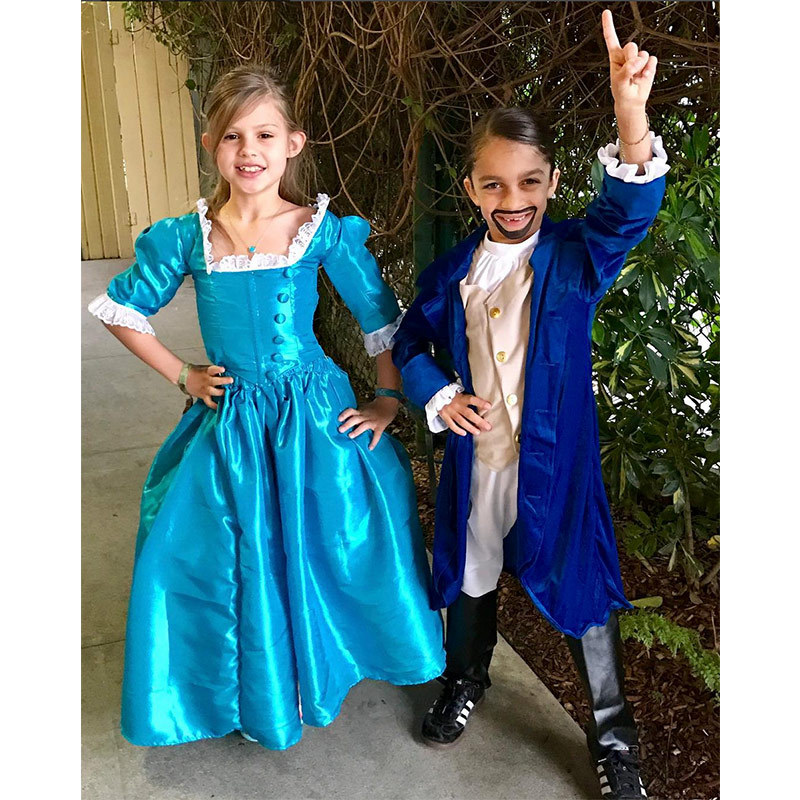 """LOOK AROUND! LOOK AROUND! HOW LUCKY WE ARE TO BE ALIVE RIGHT NOW! Here's Birdie as Eliza Schuyler with her buddy Sage as Alexander Hamilton. I have to say, these kids NAILED IT!"" said Busy Philipps of her daughter's Broadway getup.