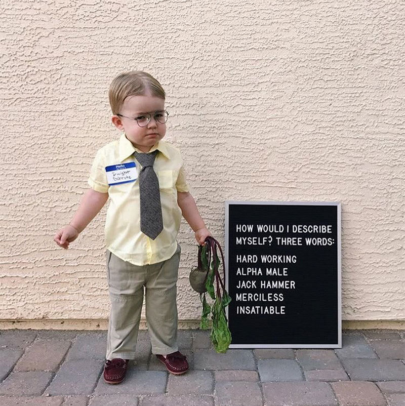 This isn't technically <em>The Office</em> star Jenna Fischer's son, but this little Dwight Schrute definitely won Halloween - and the actress who played Pam couldn't help but share on Twitter!