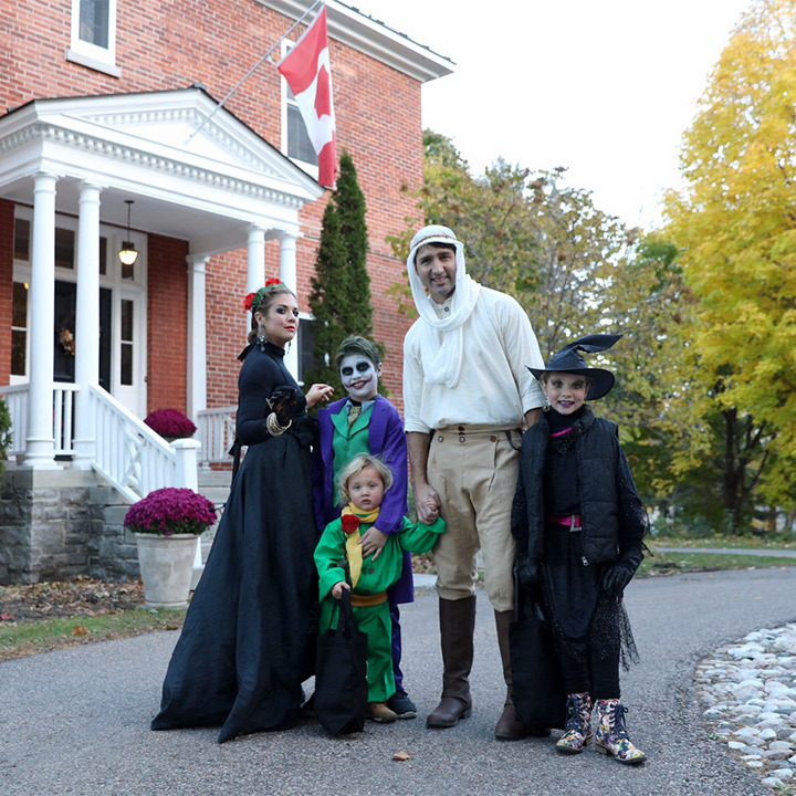 Prime Minister Justin Trudeau took a break from work on Parliament Hill to join his wife Sophie and their three children - Xavier, 9, Ella-Grace, 7 and two-year-old Hadrien - for a night of trick-or-treating around their neighbourhood. 