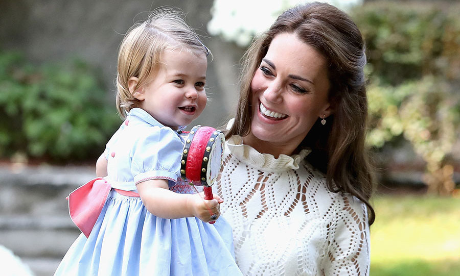 September 2016: Princess Charlotte also played with musical instruments and met a dog named Moose.