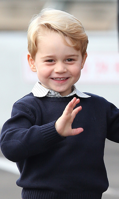 October 2016: Prince George showed off his adorable smile as he waved to the crowds before the family set off to return to the UK after their tour of Western Canada.