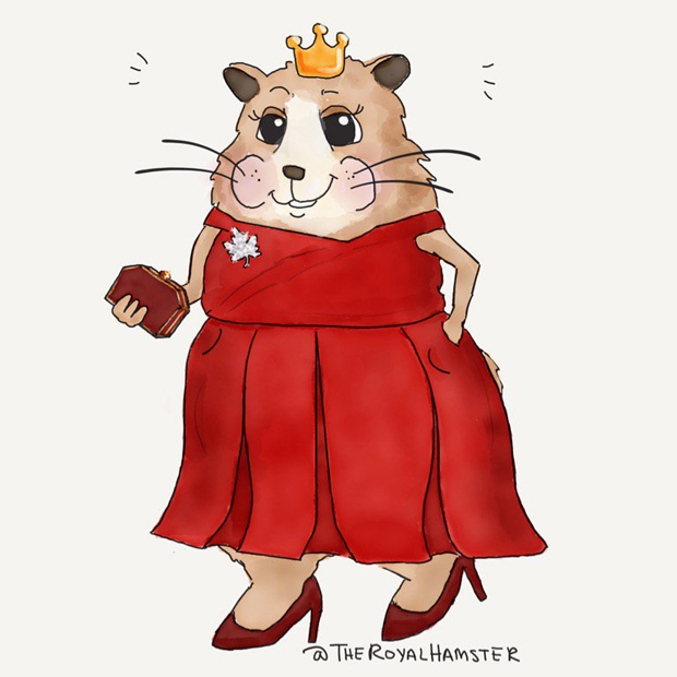 The Royal Hamster, wearing the red Preen party dress Kate wore while at a special gala in Canada.