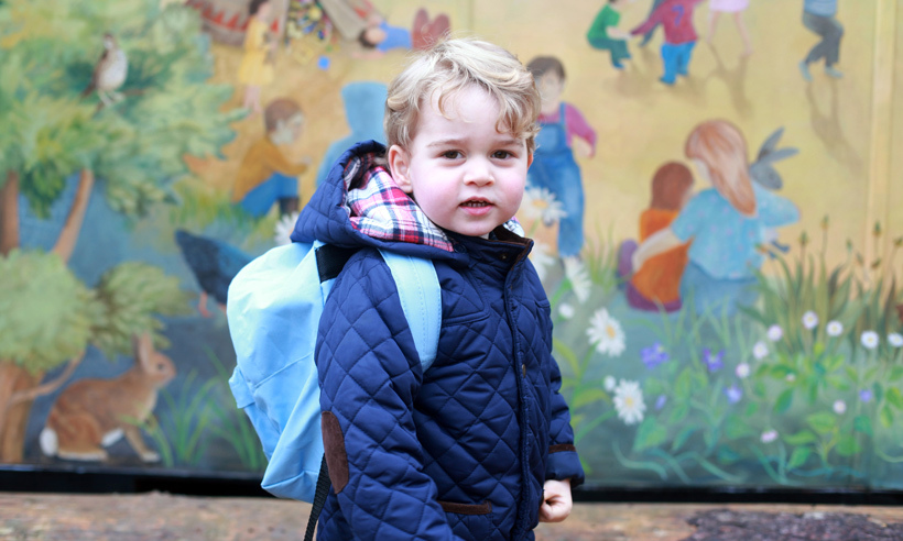 The world was delighted to see this photo of Prince George headed to his first day of school, complete with his little blue backpack.