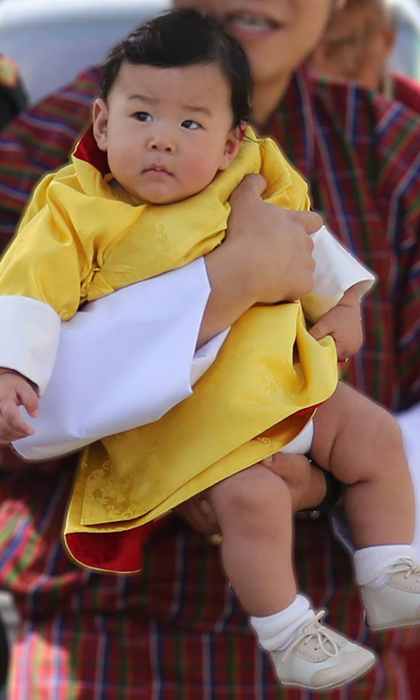 The six-month-old stole the show during his first visit to Bumthang, which is the ancestral maternal home of his mother Queen Jetsun. 