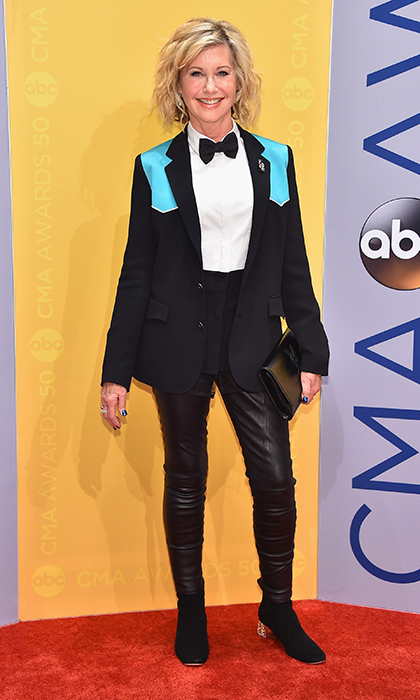 Olivia Newton-John looked stylish in a suit complete with a bowtie.