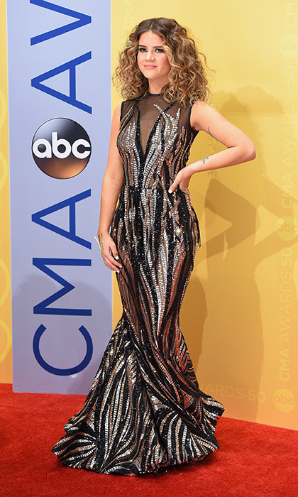 Maren Morris wore an eye-catching dress by Michael Costello.
