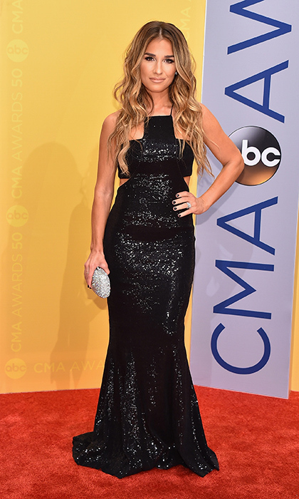 Jessie James Decker looked glam in a floor length black sequin gown.