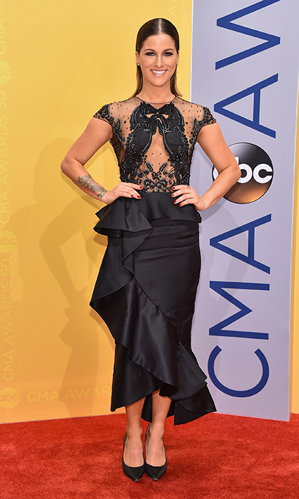 Singer-songwriter Cassadee Pope took on the carpet in a stunning dress by Marchesa. 