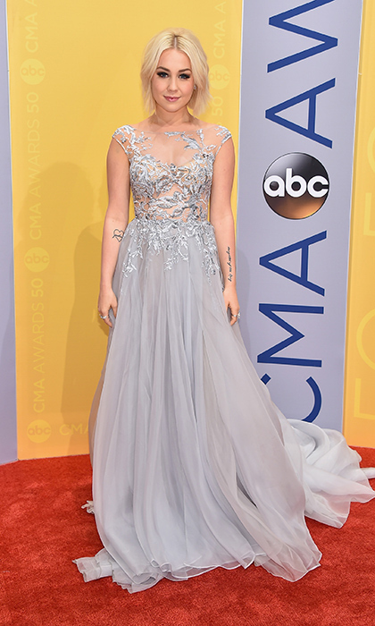 RaeLynn wore a floral-adorned icy silver gown.