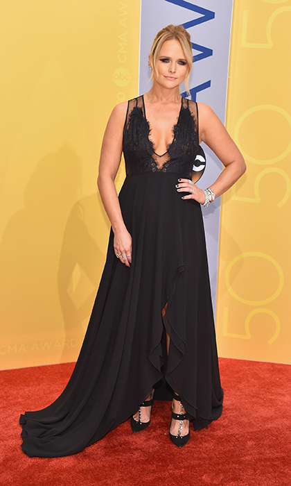 Miranda Lambert was dark and daring in an all-black dress with a lace neckline. 