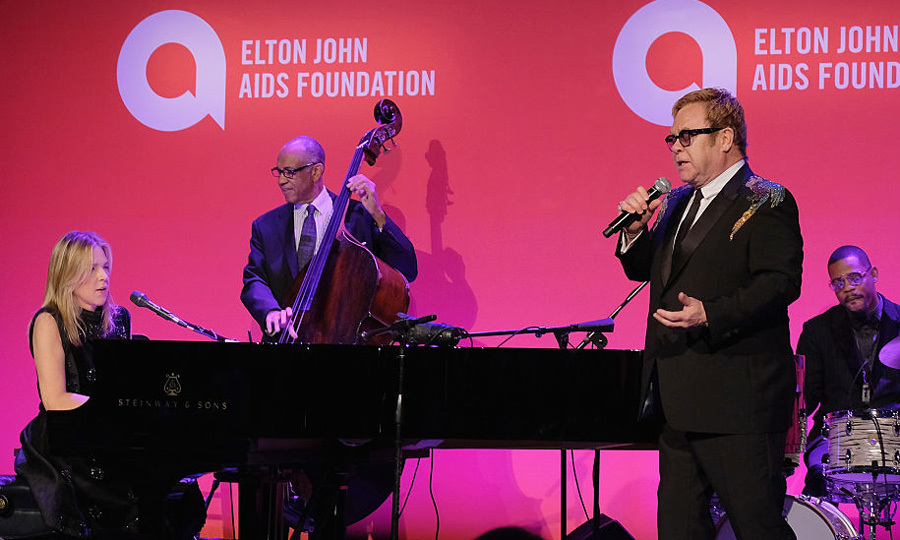 Elton performed on stage at Cipriani Wall Street with singer Diana Krall.
