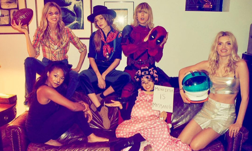 Taylor Swift (in a full Deadpool getup), invited pals Martha Hunt, Gigi Hadid, Lily Donaldson, Camila Cabello, Kennedy Raye, and Emmie Gundler to a model Halloween bash.
