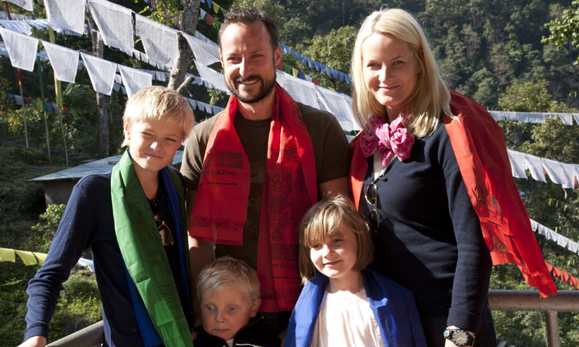 The jet-setting family headed to India in 2011, where they visited a monastery in Sikkim. 