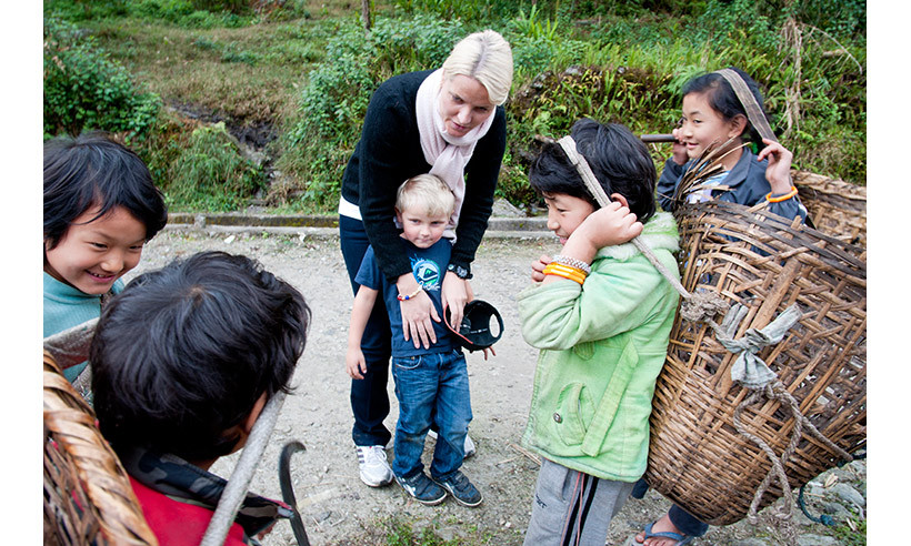 While in India, Mette-Marit and Sverre Magnus spent time with local children in Dzongu. 