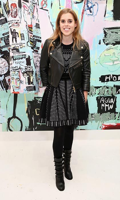 Princess Beatrice layered a leather biker jacket over a black skater dress at the launch of Alice + Olivia's launch party in New York.