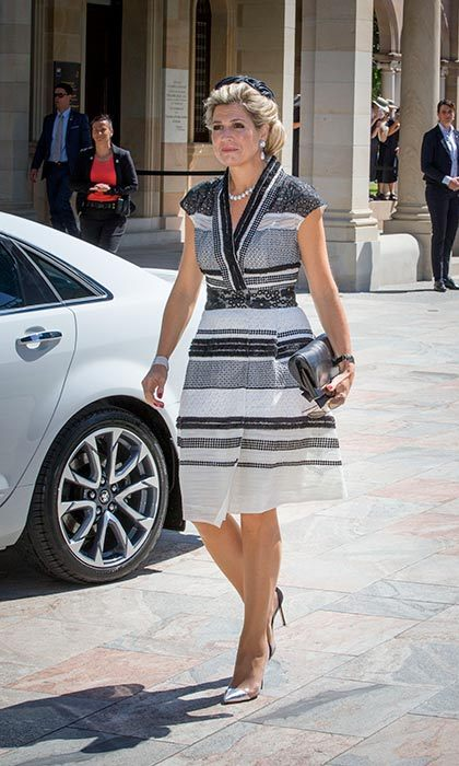 Queen Maxima wore a monochrome striped dress during her visit to Australia.