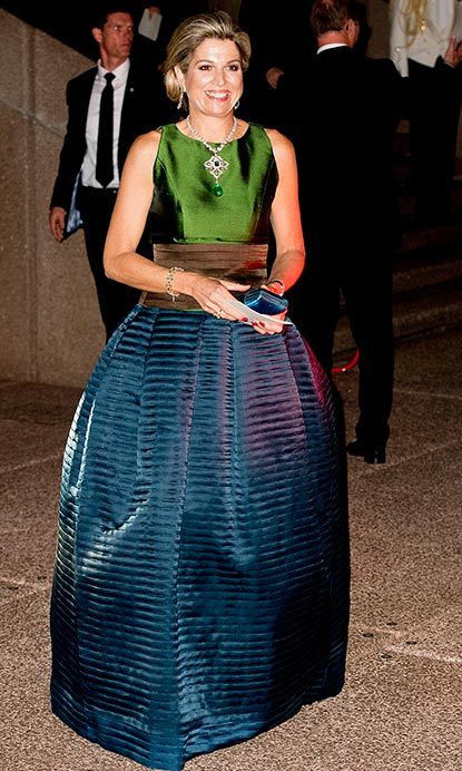 A striking jewel-toned dress was perfect for Maxima's evening at the Sydney Opera House.