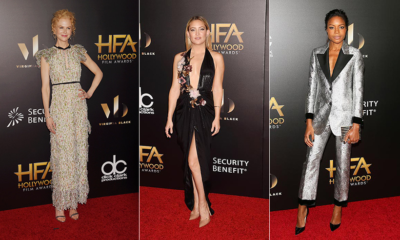 Many of Hollywood's biggest stars descended upon the Beverly Hilton hotel for the Hollywood Film Awards on Sunday night. Scroll through to see the red carpet fashion...