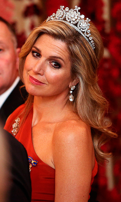 Queen Maxima's gorgeous diamond tiara stole the show. 