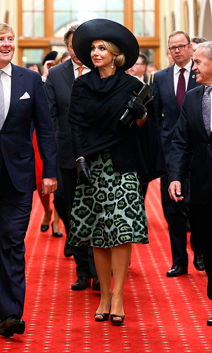 The royal opted for an eye-catching animal print for her meeting with the Prime Minister of New Zealand John Key at Parliament in Wellington, New Zealand. 