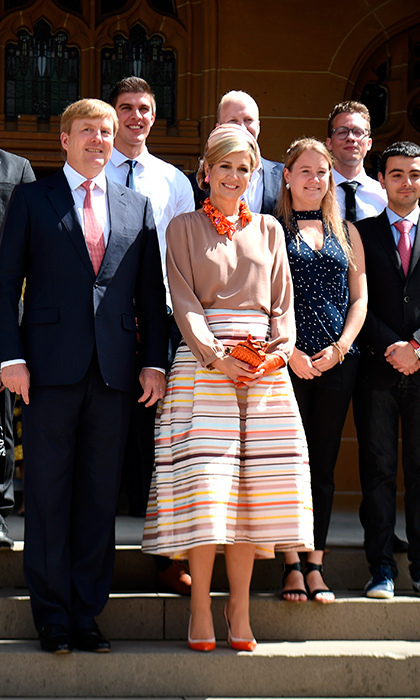 Maxima was a ray of sunshine in a colourful pleated skirt and bright orange statement jewelry as she met with students during a visit to the University of Sydney.