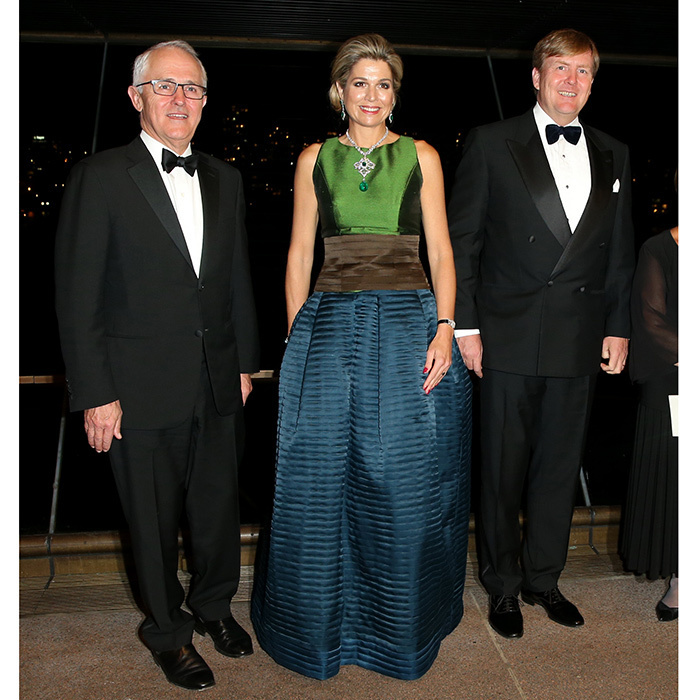 Joined by King Willem-Alexander, right, and Australian Prime Minister Malcolm Turnbull, left, Queen Maxima looked stunning in a colour block silk dress as she attended a special performance at the Sydney Opera House. 