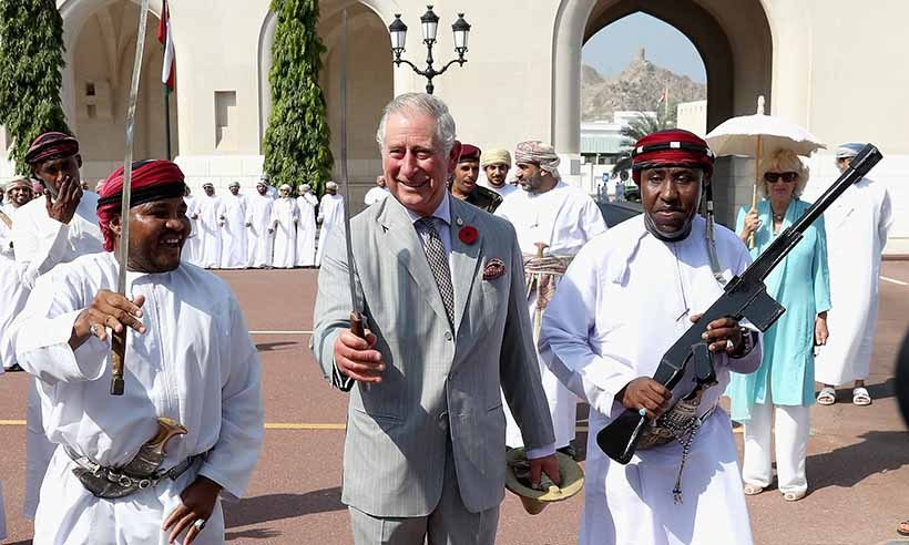 Charles participated in a traditional Omani 'Sword Dance' during the ceremony. 