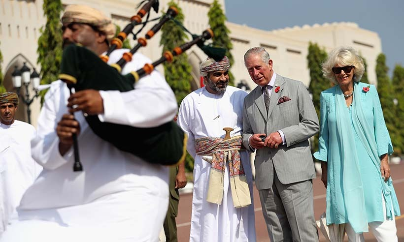On the first day of the tour, the Duke and Duchess of Cornwall were greeted with a cultural welcome ceremony outside the Sultan's Palace in Muscat, Oman. 