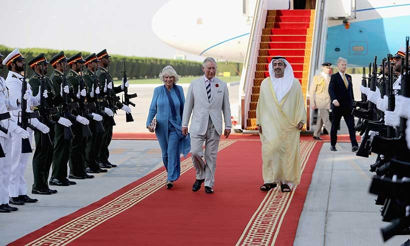 Foreign Minister Abdullah Bin Zayed greeted the Duke and Duchess of Cornwall upon their arrival in Abu Dhabi. 