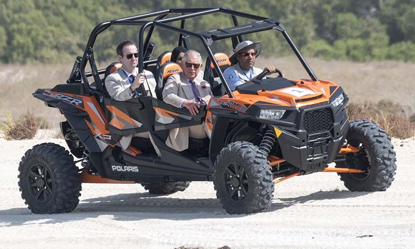 The father of two travelled to the beach in a dune buggy!
