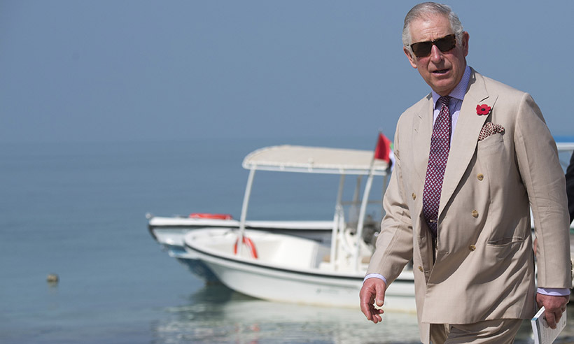 The Prince of Wales, a dedicated environmentalist, visited the UNESCO protected marine area on Bu Tinah Island. 