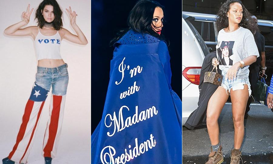 With the US Presidential election tipped to be a close call between Hillary Clinton and Donald Trump, these celebrities have been encouraging voters and supporting their favourite candidates with a political style statement…
