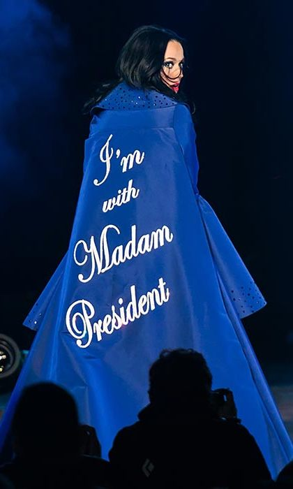 "Katy Perry has made no secret of her support for Hillary Clinton. The ""Roar"" singer supported the Democratic presidential candidate at a rally in Philadelphia, where she wore a custom Prabal Gurung cape emblazoned with the words: ""I'm with Madam President.""