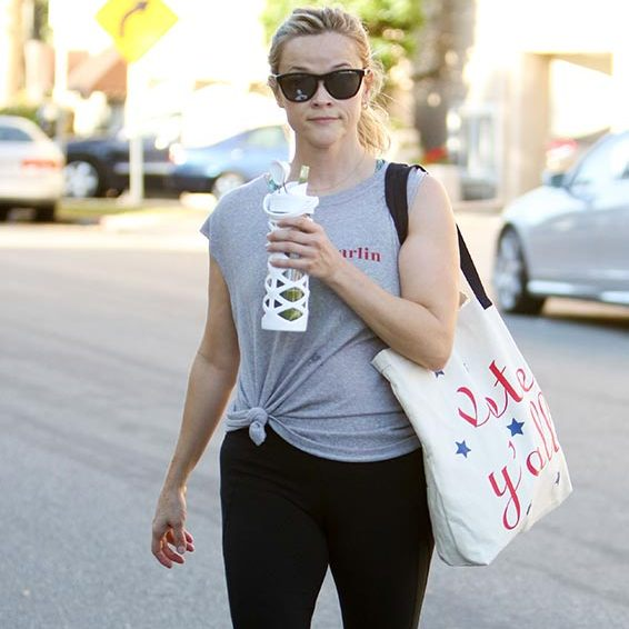 "Reese Witherspoon had a more subtle way of encouraging her fans to vote; the actress wore a ""Vote Y'all"" print tote from her Draper James collection.