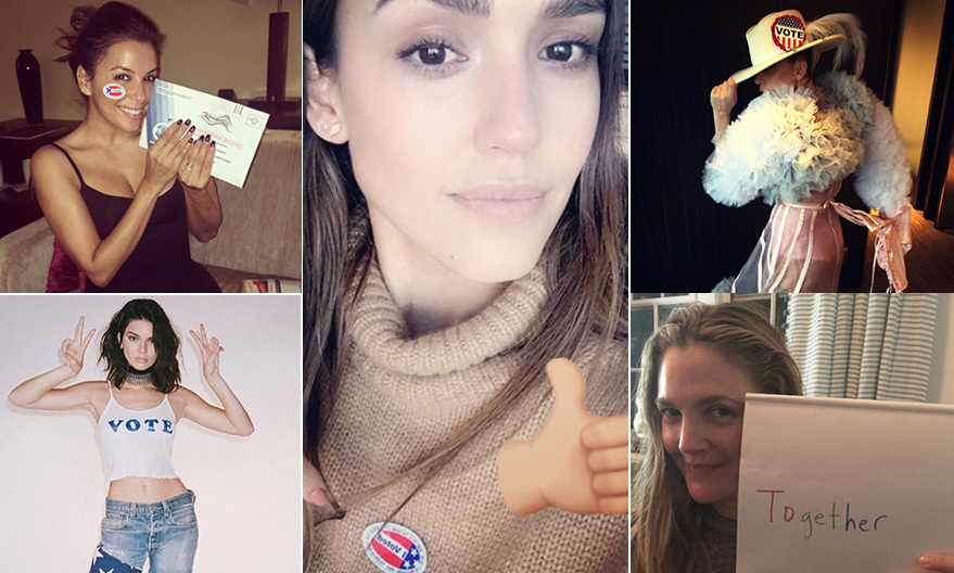 No matter which candidate they support, the stars are always keen to encourage fans to vote. From actors and models to musicians, everyone's been wearing their voting stickers like a badge of honour on social media. As the United States selects Hillary Clinton or Donald Trump as their 45th President on Nov. 8, we round up some of our favourite celebrities who are rocking the vote!