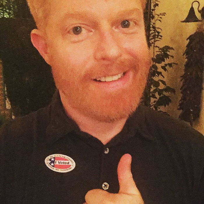 <em>Modern Family</em> star Jesse Tyler Ferguson urged people to head to the polls: 'Civic duty! Tomorrow's the day ya'll! Get out and vote!'