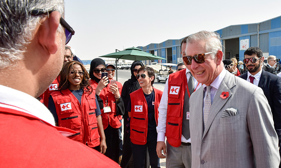 On their final day in the UAE, Prince Charles and Camilla visited the Dubai Humanitarian International City to meet with frontline workers. 