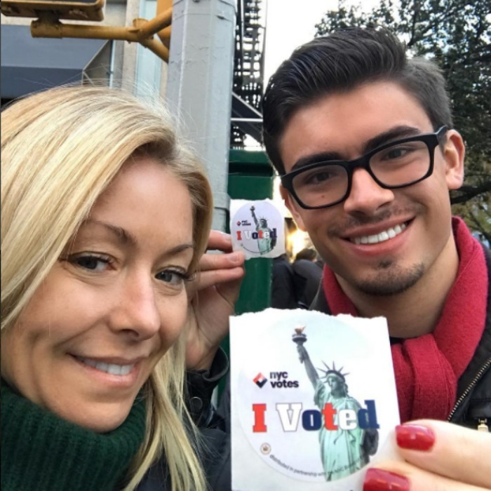 Kelly Ripa had a proud mama moment when she took the polls with her son (and first time voter) Michael. 
