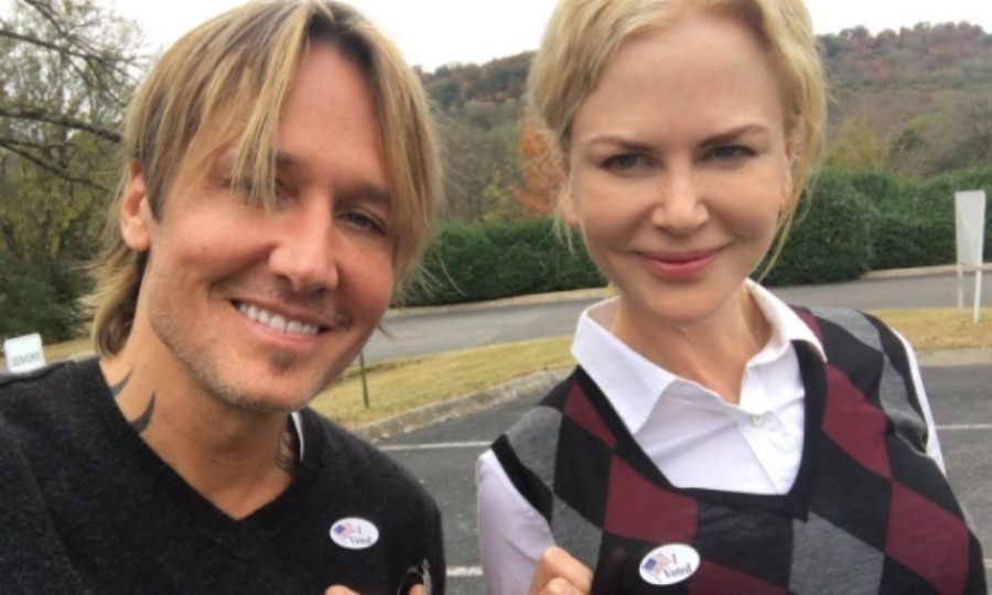 Keith Urban and Nicole Kidman showed off their stickers after hitting the polls. 