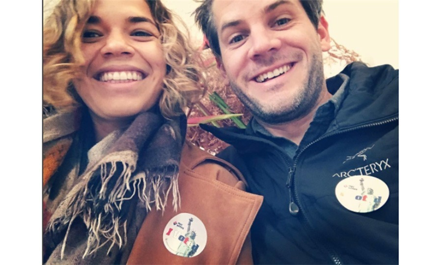 America Ferrera and her husband Ryan Williams showed off their smiles after rocking the vote. 