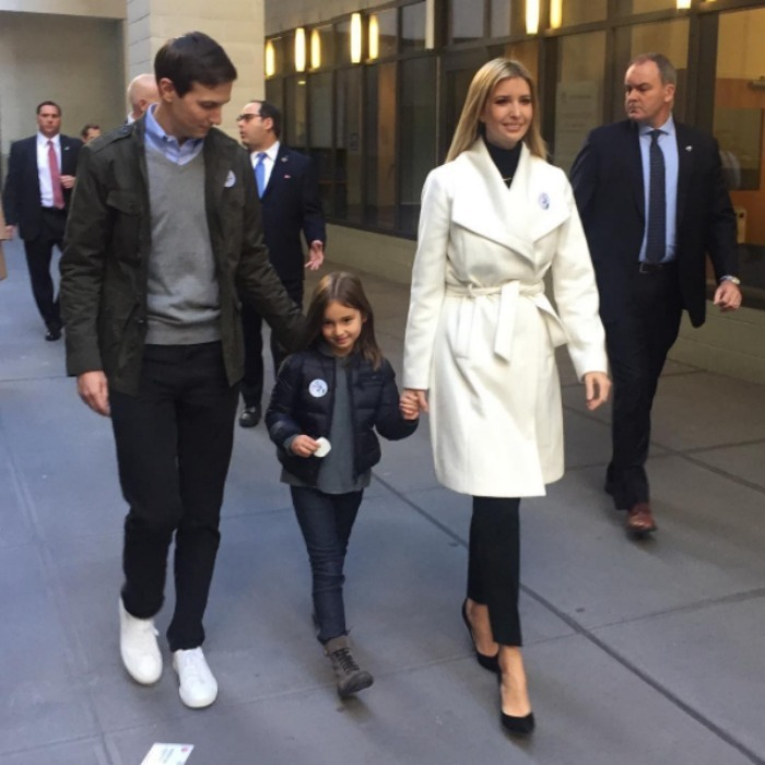 "Ivanka Trump, her husband Jared Kushner and their oldest child Arabella showed off their ""I Voted"" stickers. 