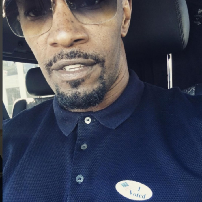 Jamie Foxx proudly showed off his sticker in his post-voting selfie. 
